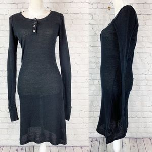 James Perse Black Long Sleeve Thermal Henley Dress